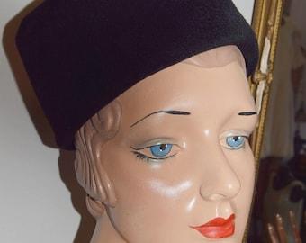 1950's Black Toque / Cossack Hat
