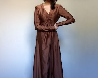 Copper Dress Vintage Maxi Dress Empire Waist Boho Dress Long Sleeve Maxi Dress Gown Vintage Clothing - Small to Medium S M