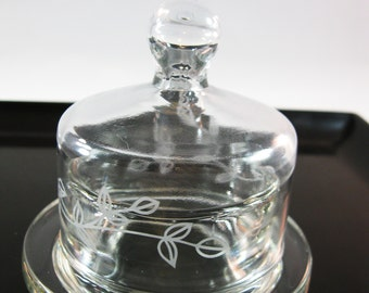 Tiny Glass Butter Dish, Domed lid Cloche