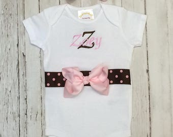 Pink Brown Polka Dot Personalized onesie with matching headband and bow