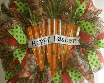 Happy Easter Wreath, Easter Wreath, Carrot Wreath, Holiday Wreath, Spring Wreath