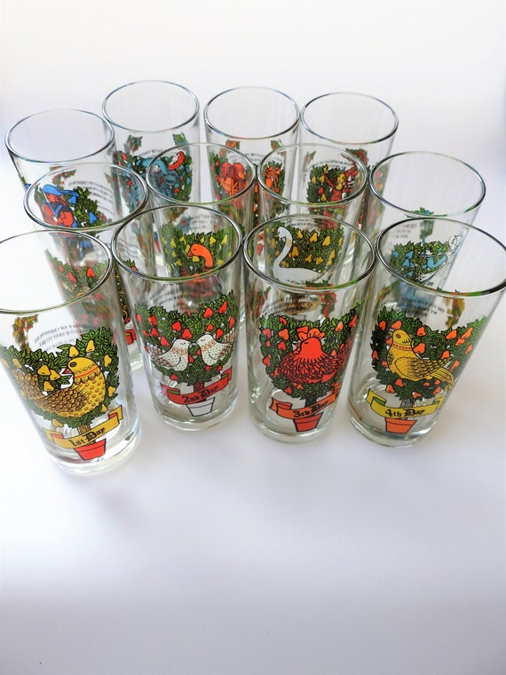 Twelve days of christmas drinking glasses holiday