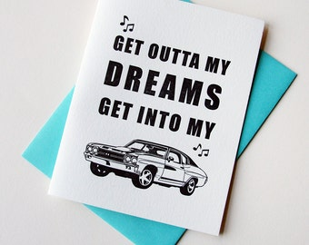 Letterpress Love and Valentin's Day Card - Get Into My Car