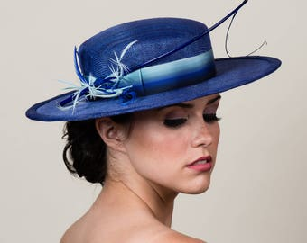 """NEW! Cobalt Blue Boater Hat with Ombre Ribbon & Feather Trims. 3"""" Wide Brim Hat. Gaucho. Bolero. Blues. Hatbox Included. Free US Shipping"""
