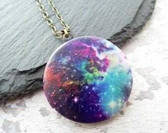 Quote locket, locket necklace, photo locket, galaxy necklace, keepsake necklace, bronze locket