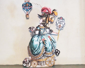 French Paper Doll Party Decoration OR 3D Greeting Card - Articulated Marie Antoinette Balloonist And Dogs - INSTANT Download -  MA10M