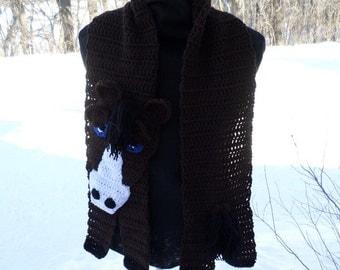 Brown Horse Scarf; Crochet Scarf; Crochet Horse Scarf; Horse Scarf; Accessory; Horse Scarf