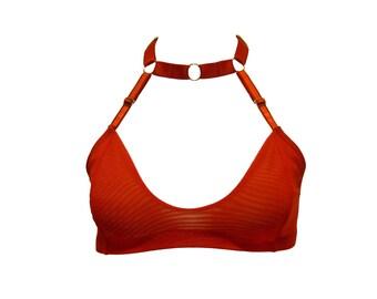 Sandra harness choker bralette - red-  by Kayleigh Peddie