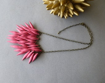 Rosy Coral Red / Polymer Clay Spike and Antique Bronze Statement Necklace (Petite Version)