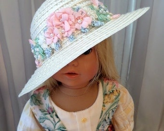 18 Inch Doll Accessories / Doll Straw Hat With Ribbons And Pearls / 18 Inch Doll Clothes / Doll Clothing / Fits American Girl Doll - 7003