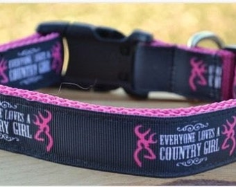"""Browning buck """"Everyone loves a country girl"""" dog collar & or leash on pink webbing"""