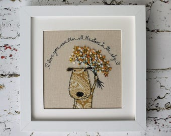Handmade Celebration Puppy Large Embroidered Picture.  Freehand machine work shades of gold with French knot & Sequin flowers. Made to order