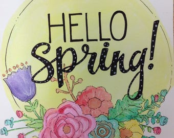 Hello spring flowers print