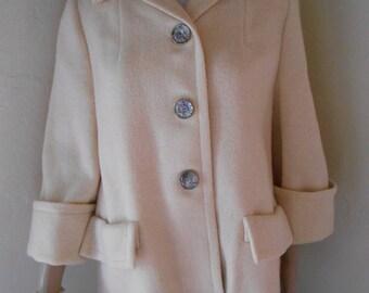 50s Tan Wool Ladies Classic Jacket - Size M