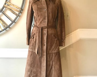 Vintage 80's suede coat, long suede coat, vintage leather coat, long leather coat, women's vintage 80's suede coat