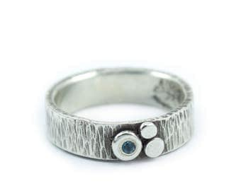 "Silver Ring Textured in Ripple pattern outdoorsy but elegant with trio of silver ""pebbles"" detail - Trio Ripple Ring"