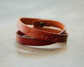 BELOVED Hand Stamped Leather Bracelet