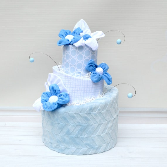 Blue Diaper Cake, It's a Boy Baby Shower, White and Blue Baby Shower, Diaper Cake for Baby Boy, Boy Shower Decorations, Boy Shower Cake