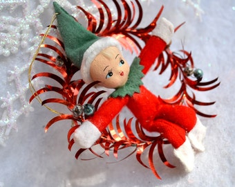 Vintage Christmas Ornament - Tinsel Wreath Elf with Composition Face