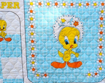 Vintage Tweety Bird Baby Blanket Sleeper to Sew and Personalize