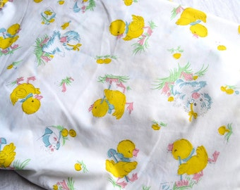 Vintage Crib Sheet - Easter Ducklings Percale