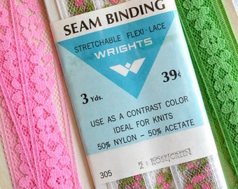 Vintage Seam Binding Lace Ribbon - Pink and Green Floral