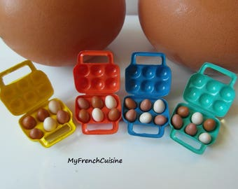 vintage egg box - green - tupperware design - Handmade miniature food