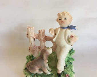 Vintage Arnart Figurine Boy and Dog