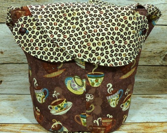 Coffee Break Brown -Large Llayover Tote/ Knitting, Spinning, Crochet Project Bag