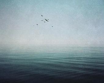dreamy ocean fine art photo, lake landscape photography, dramatic home decor, blue bedroom wall, large canvas, teal, navy, surreal sky birds