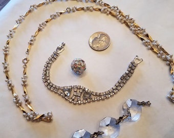 Vintage Seed Pearl Necklace and Rhinestone Bracelet Lot