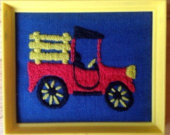 Cool miniture truck needlepoint framed