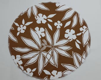 Set of 4 placemats, cognac brown and white floral cotton print, washable dining, table linens