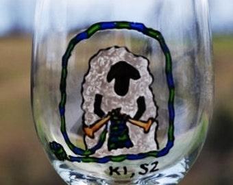 "Knitting Sheep Wine Glass ""K1 S2""  Knit 1 Sip 2"