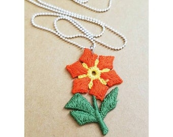 Vintage upcycled flower patch necklace- embroidered patch necklace- orange flower