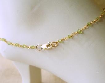 Peridot Ankle Bracelet, Bracelet, Anklet, Custom Anklet,  September Birthstone, Beach Jewelry