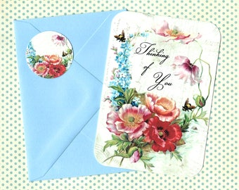 Note Cards, Flowers & Bees, Note Card Set, Stickers, Florals, Greeting Cards
