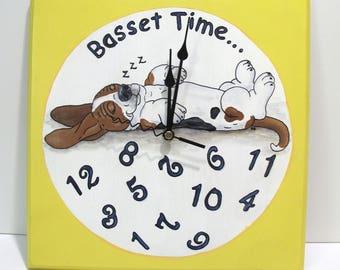"Hand Painted Basset Hound Clock - ""Basset Time..."""