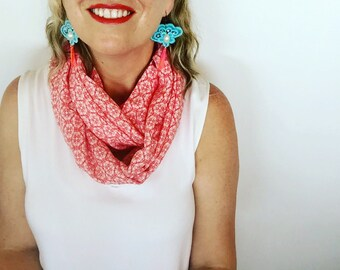 Womens Red and White Modern Floral Flower Print Print Infinity Scarf, Cowl, Accessory, Christmas Scarf, Gift for Her, Xmas Gift
