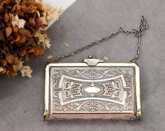1912 Antique Art Nouveau Purse | Silver on Copper Antique Dance Purse | Edwardian Purse | Antique Purse