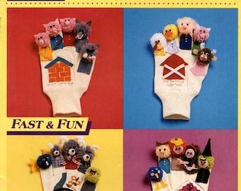 Finger Tales Garden Work Glove Puppets Story Cast Old MacDonald 3 Pigs Billy Goats Gruff Hansel Gretel Sewing Craft Pattern Leaflet 14029