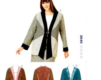 Women's Jacket Semi Fitted Pieced Front Full Length Sleeve Cuff Frog Closure Plus Sizes 1X 2X 3X 4X Kwik Sew 3640 Uncut Craft Sewing Pattern