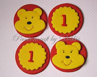 12 Fondant edible cupcake toppers - Winnie the Pooh and monogram number or letter birthday boy girl celebration