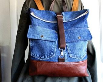 Denim Fold over Backpack/ messenger/ carry all/ rucksack Leather trim Unisex school bag -- Ready to Ship--