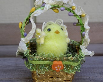 Easter Decoration Ornament Yellow Chick in a Basket
