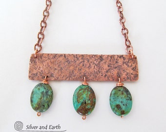 African Turquoise Necklace, Copper Necklace, Handmade Metalwork Jewelry, Exotic Boho Chic Festival Jewelry, Bold Statement Necklace