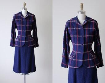 """1940s Suit - Vintage 40s Suit - Rare Patriotic Red White Blue Knit Wool """"Lofties"""" Dress Suit Set M - Voting Day Set"""