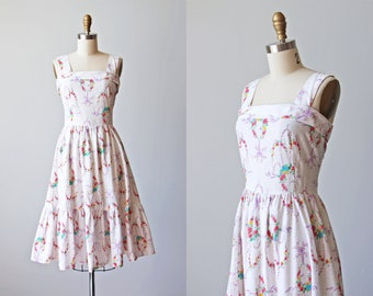 70s Dress - Vintage 1970s Dress - Novelty Print Rose Ribbon Swags Eyelet Cotton Blend Pinafore Sundress S M - Go for Baroque Dress
