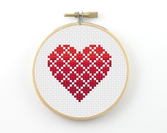 Geometric heart cross stitch pattern, geometric heart pattern, geometric pattern,  heart pdf pattern, modern cross stitch, valentine gift