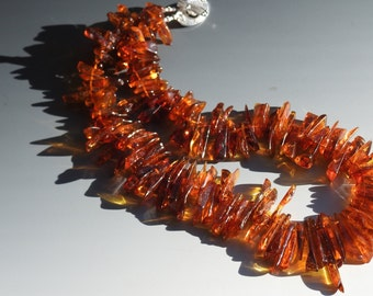 Baltic Amber Spike Necklace with Fine Silver Toggle Clasp